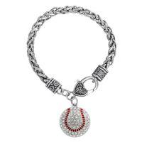 Wholesale Rhinestone Softball - Wholesale- Round rhinestones baseball softball Attitude is Everything charm bracelet love gift