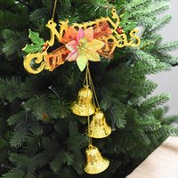 christmas decorative ornaments venda por atacado-Enfeites de Natal Bels de Natal Bowknot Letter Card Bead Chains Strap Decorative Christmas Tree Decoration