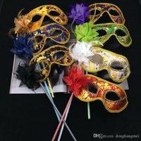 trajes de disfraces venecianos al por mayor-Venetian Masquerade Fancy Dress Máscara en Stick Mardi Gras Costume Eyemask Impresión Halloween Carnival Hand Held Stick Party Máscaras h306