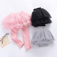 Wholesale 4t Pencil Skirts - Baby Girl Cotton Tutu Dress Legging 3 Colors Infant Toddler Tutu Trousers Pants Children Kids Trousers Skirts Tutu Dresses False Two Piece