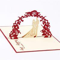 origami pop-up hochzeitskarte großhandel-10 teile / los Hallow Out 3D Pop UP Gruß Geschenkkarte Hochzeitseinladungen Kreative Kirigami Origami Faltbare Grußkarten