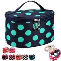 Wholesale Travel Case Handle - Big Dots & Heats Handle Round Dot Large Cosmetic Bag Travel Makeup Organizer Case Holder With Mirror ELB058