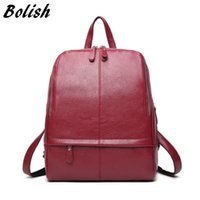 Wholesale Hot Style Laptop Bags - Wholesale- Hot Sale High Quality Women Backpack Fashion Preppy Style School Bags Double Zpper Girls Laptop Backpack Soft Leather Women Bag
