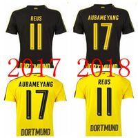 Wholesale Borussia Shirt - .2017 18 Borussia Dortmund home Whosales 17 18 top quality PULISIC soccer jerseys free shipping Aubameyang REUS football shirts