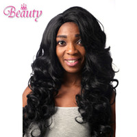Mixed hair wigs outre lace wigs - Outre Machine making L Part Lace Front Wig STUNNA JET BLACK Machine making wig Big wave hair Black fashion wig