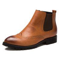 Wholesale Men Pointed Short Boots - Wholesale-Winter Brogues Plush Chelsea Martin Ankle Boots for Men Pointed Toe Genuine Leather Shoes Men Short Boots Oxfords Botas Hombre