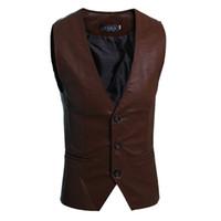 Wholesale White Motorcycle Vest - Vintage PU Leather Waistcoat Men's Motorcycle Vest 2018 Spring Sleeveless Black slim Jacket with Pocket High Quality JL59