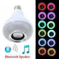 ledli lamba kablosuz kumanda toptan satış-Kablosuz Bluetooth Hoparlör Ampul Müzik Çalma Enerji Tasarrufu RGB Soptlight E27 Uzaktan Kumanda Ile LED Işık Lamba Ücretsiz kargo