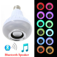 Wholesale Light Control Energy Saving - Wireless Bluetooth Speaker Bulb Music Playing Energy Saving RGB Soptlight E27 LED Light Lamp With Remote Control Free DHL