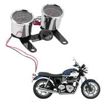 suporte do velocímetro venda por atacado-12V 0-180km / h Tacômetro Universal Motocicleta LED + Odômetro Velocímetro Com Suporte