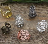 Wholesale 14mm Round Ring Setting - BoYuTe 20Pcs 6 Colors Round 12MM 14MM 16MM 18MM 20MM Cabochon Base Adjustable Ring Blanks Setting Diy Jewelry Accessories