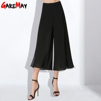 Wholesale Lightweight Skirts - Wide Trousers Elastic Waist Women Summer Loose Black Pants Skirt Calf Length Chiffon Pant Ladies Pantaloni Donna Larghi GAREMAY