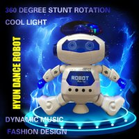 Wholesale Model Toy Robot - 2017 manufacturers selling children's electric toys Hyun dance robot rotating light music explosion models HB007-1 20cm