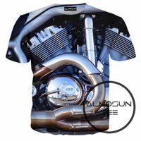 Wholesale El Motor - Wholesale- ALMOSUN Motor Heavy Metal Skull Retro 3D All Over Print T Shirts Short Sleeve Hipster Street Shirts Hip Hop Tee Men