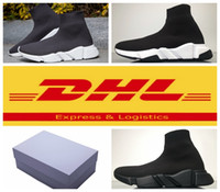 Wholesale Mens Shoes Dhl - 2017 New Men Women Unisex Shoes Paris Famous Brand Speed Trainer Black White Top Quality Sneakers Mens Sock Shoes With Box Free DHL