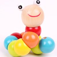 Wholesale Insects Wooden Toys Colorful - Wholesale-shilly magical colorful insects twist wooden children kids baby fingers flexible training science educational puzzle cute toys
