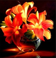 Wholesale Lily Canvas Paintings - 5D needlework Diy diamond painting cross stitch kits full resin square diamond embroidery Mosaic Home Decor flower Lily zf0083