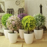 Wholesale Indoor Potted Trees - Wholesale- Artificial Topiary Tree & Ball Plants In Pot Colorful Fake Flower Ball Garden Home Outdoor Indoor Decoration