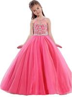 длина пола розовые девочки платья оптовых-Вечерние платья для девочек Маленькие маленькие розовые детские бальные платья длиной до пола, блестящие платья для девочек-цветочниц на свадьбу из бисера и лаванды бирюзовые