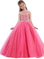 ballkleid blumenmädchen kleider rosa groihandel-Mädchen Festzug Kleider Little Toddler Pink Kids Ballkleid bodenlangen Glitz Blumenmädchen Kleid für Hochzeiten Perlen Lavendel Türkis