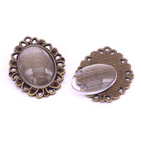 8 conjuntos Antique Bronze Cameo Cabochon Pendant Blanks Setting Fit 18 * 25mm dia Foto Charm Pendant + Clear Glass Cabochons A4900-1