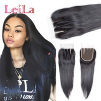 Wholesale virgin brazilian real human hair for sale - Group buy 100 Real Unprocessed Brazilian Straight Hair Top Lace Closure part B X4 Virgin Human Lace Closures Hair