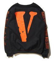 Wholesale mens v neck fleece - Wholesale- x Mens Sweatshirts V Letter Print Male Hip Hop Sweatshirts Long Sleeve kanye west crewneck mens clothes Free freig
