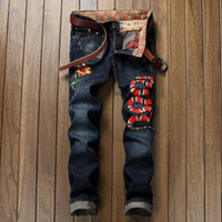 Wholesale Denim Capris For Men - Wholesale- Brand Designer Mens Jogger Jeans With Embroidery Slim Fit Washed Denim Pants For Male Snake And Flower Patchwork Jean Trousers