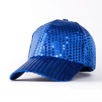 Wholesale Sequin Snapback - 2017 New Fashion Unisex Sequins Embroidery Baseball Cap Trendy Paillette Curved Brim Hat Women Hip Hop Caps Men Snapback Hats