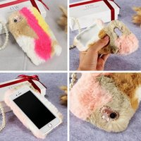 Wholesale fuzzy phone cases - Diamond Fuzzy Rabbit Hair Fur TPU Case For Iphone 8 7 Plus 6 6S SE 5 5S LG G5 Huawei P9 Lite Honor 8 Colorful Fashion Plush Phone Cover 7pcs