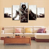 Wholesale poster art deco - 5pcs set Assassin's Game Poster Giclee (No Frame) Wall Art Oil Painting On Canvas Textured Abstract Paintings Picture Decor Living Room Deco