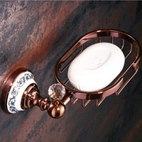 Wholesale Metal Racks Baskets - Soap Basket Euro Style Rose Golden Polished Bathroom Soap Rack Holder Soap Dish Wall Mounted SL-4