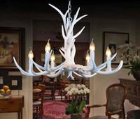 Wholesale American Din - European Vintage Pendant Light American Country White Resin Antler Pendant Light Dinning Room Light 6 Lights LLFA