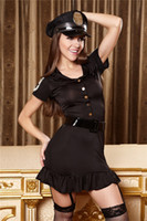 Wholesale Sexy Lingerie Stewardess - Free shipping RolePlaying Owls Uniforms Female Police Stewardess Uniforms cosplay Sexy Performance Clothing Workwear Zipper Lingerie Lingeri
