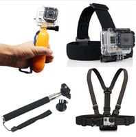 Wholesale Dive Sticks - 4K Wifi Action Camera Accessories Kit Float Bobber Handheld Stick + Chest Belt + Head Strap Free Shipping