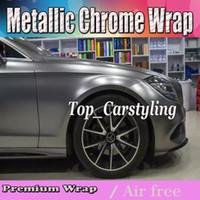 envoltório metálico de vinil cromado venda por atacado-2017 Cinza Metálico chrome Vinyl Car Wrap Film com bolha de ar livre / lançamento Cobrindo styling graphics Cobrindo folha 1.52x20m rolo