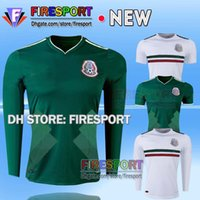 Wholesale Long Sleeves Football Jersey - Mexico national 2017 CHICHARITO home green Long Sleeve G.DOS SANTOS R.MARQUEZ thailand quality Mexico soccer Jersey 17 18 football shirt