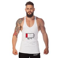 All'ingrosso-Letters HELP ME Energy Low Summer Cotone Slim Fit Uomo Tank Tops Abbigliamento Bodybuilding Undershirt Golds Fitness tops tees
