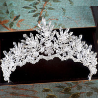 Wholesale Clear Glass Crystal Garland - Fairy Sparkly Clear Crystal Bridal Crown Tiara Wedding Prom Party Headband Garland Headpieces Free Shipping Event Rhinestone Hair Accessory