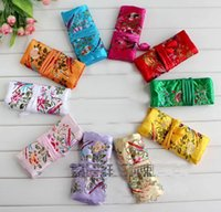 Wholesale5pcs Vintage Vintage Embroidere Silk Jewelry Rolls Pouch Gift Bag Purse