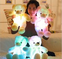 Wholesale Toy Teddy Bear China - 2017 New Tie models teddy bear glow ragdoll plush toys Built-in led lights light function free shipping