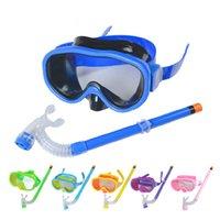 Wholesale Antifog Swimming Goggles - Wholesale- Children Swimming Diving Glasses Summer Kids Scuba Diving Mask Snorkel set Antifog Half Dry Snorkel Goggles