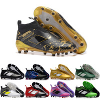 Wholesale Cheap White Shoes Gold Spikes - 2017 Cheap Online Best ace purecontrol 17 + Black Gold soccer boots Soccer Shoes Pure Control Cleats Soccer Boots FG Football Shoes