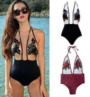 Wholesale High Rise Swimsuits - New Fashion Rose Decals Grenadine Jumpsuit Swimsuit Swimwear Bikini Set