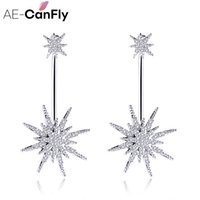 Wholesale Ae Silver - AE-CanFly Luxury Brand Bling Drop Earring For Women Star Shape Long pendientes mujer moda Bride Wedding Ear Jewelry 2C5028