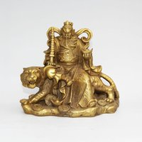 statuen tiger großhandel-Chinesische Taoismus Messing Fahrt Tiger Reichtum Gott Zhong Kui Yuanbao Geld Rich Statue Heimtextilien