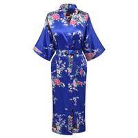 xxxl халат оптовых-Wholesale- Plus S-XXXL Print Peacock&Flower Sexy Women Silk Rayon Nightgown Bridesmaids Wedding Robes Sleepwear Kimono Bath Dressing Gown