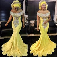 Wholesale Dress Handwork - Sexy African Yellow Mermaid Off The Shoulder Lace Beaded Evening Dresses Robe de Soiree Formal Party Gowns Prom Gown Handwork