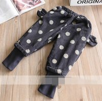 Wholesale Wholesale Corduroy Jeans - Winter New Baby Girls pants Elastic waist dot Thicked corduroy pants Children Clothing 2-7Y 319563
