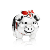sports piggy banks - Authentic Sterling Silver Animal Bead Charm Red Enamel Piggy Bank Beads Fit Women Pandora Bracelet Bangle DIY Jewelry HKA3598